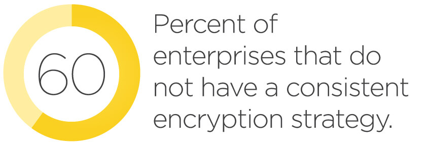 Sixty percent of enterprises do not have a consistent encryption strategy.